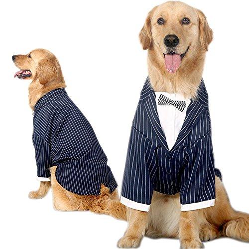 Bolbove Mittlere bis Große Hunde Formale Tuxedo Handsome Party Anzug Gestreift Hochzeit Fliege Outfit, 4XL, - Schwarz Und Weiß Gestreiften Anzug Kostüm