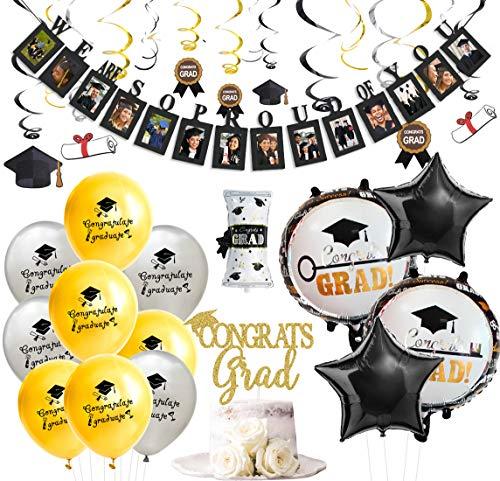 Joymemo decorazioni per la laurea volantini pendenti neri e dorati banner per foto di laurea congratulazioni con laureati topper certificato palloncini forniture per feste
