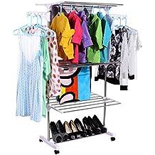Homdox Perchero plegable barato para colgar secar Ropa y zapatos
