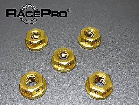 Foré - Yamaha YZF R6 02 - x5 Titanium arrière Sprocket Nuts - Gold