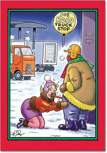"""5726Ofenform\""""Ice Truck Stop-Funny Weihnachten Grußkarte mit 12,7x 17,8cm Umschlag von Nobleworks"""