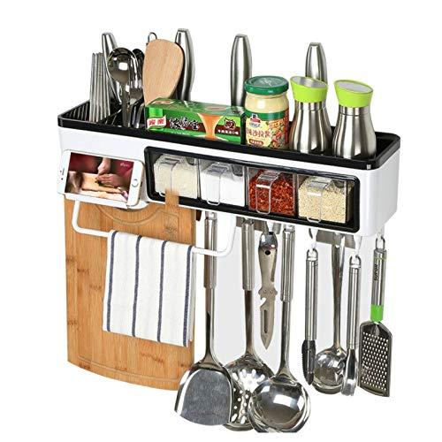 ZAIYI-kitchen shelf Küchenregal Frei Stanzen Wandbehang Lagerung Messerhalter Kunststoff Gewürzregal Regal,OneColor
