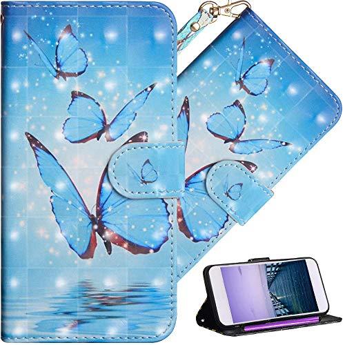 COTDINFOR Sony Xperia XZ3 Hülle 3D-Effekt Painted cool Schutzhülle PU Leder Flip Bookcase Handy Tasche Schale mit Magnet Standfunktion Etui für Sony Xperia XZ3 Three Blue Butterflies YX.