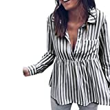 Gestreifte Top Frauen Damen T Shirt Damen Lose Langarmshirts GreatestPAK
