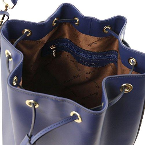 Tuscany Leather Vittoria Borsa secchiello da donna in pelle Nude Blu scuro
