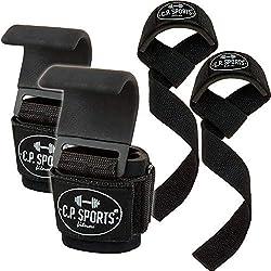 C.P. Sports Klimmzughaken Set + gepolsterte Zughilfen - Zughilfen Krafttraining, Zughaken Zughilfen,Bodybuilding Griffhilfe mit Stahlhaken, Zugschlaufen