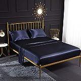 Parure de lit 3 pièces en satin de soie crème avec drap-housse, drap plat et taie d'oreiller - Perméable à l'air, doux et con