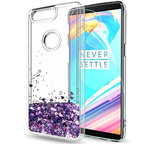 OnePlus 5T Glitzer Hülle,LeYi süße Frauen Mädchen Flüssig Bewegende Treibsand Transparent Slim Dünn TPU Silikon Handyhülle mit HD-Schutzfolie für OnePlus 5T Case Cover ZX Purple (Tory Burch Gelee)