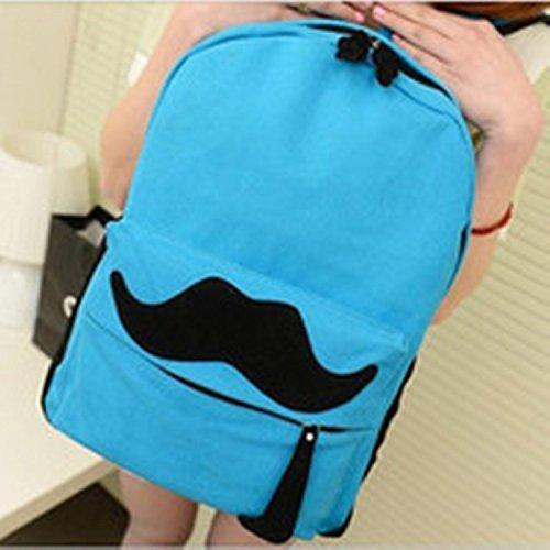 Fox gufo retro Satchel Borsa a tracolla/zaino pratico Outdoor Walker Borsa escursionisti, Red mustache Blue mustache