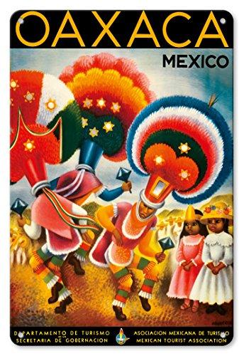 Pacifica Island Art 22cm x 30cm Vintage Metallschild - Oaxaca, Mexiko - Kostümierte Tänzer Nativen - Vintage Retro Welt Reise Plakat von Miguel Covarrubias c.1943