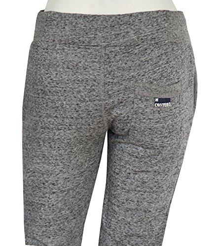M.Conte Pantaloni Jogging per Donna in Felpa Skin Lunghi, Sweat-Pants Sport tuta Grigio Melange Blu Celeste Lila Rosso Bianco Blu Azzurro Taglia S M L XL Ramona Nero-Grigio