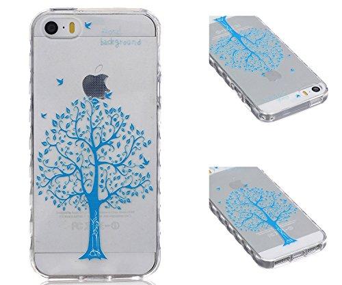 ZeWoo TPU Schutzhülle - BF033 / Don't touch my phone(Bär) - für Apple iPhone 5 5G 5S Silikon Hülle Case Cover BF028 / Blumenhintergrund