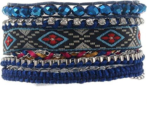 behave Pulsera Boho - Pulsera tejida azul marino con cuentas azules -