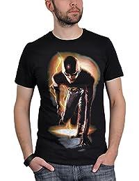 The Flash Starting Block Lightning Bolt Pose Herren Nue Schwarz T Shirt