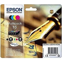 Encre d'origine EPSON C13T16264012 Multipack Stylo Plume T1626 : cartouches Noir, Cyan, Magenta et Jaune Amazon Dash Replenishment est prêt