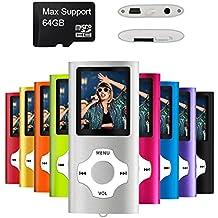 Mymahdi reproductor portátil MP3 / MP4, plata con pantalla de 1,8 pulgadas de LCD y ranura para tarjetas micro SDHC, tarjeta de 128 GB de micro SD de alta compatibilidad TF