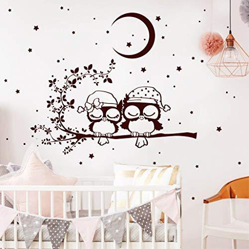 Wandtattoo Gute Nacht Eulen auf einem Ast mit Mond und Sternen/brillantblau / 80 x 101 cm