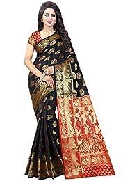 Vatsla Enterprise Women's Cotton Silk Saree (VQAYAT001BLACK_BLACK)