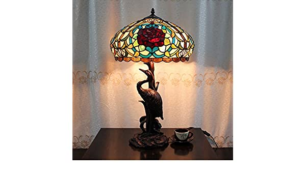 Tiffany Lampen Outlet : Hdo zoll red rose pastoral luxus tiffany stil tischlampe