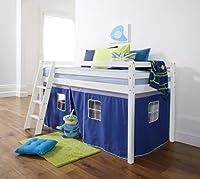 Cabin Bed Mid Sleeper Pine with Tent and Mattress Blue (5758WG-BLUE+ MATTRESS) Noa & Nani