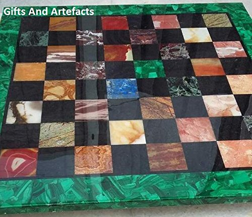 Gifts And Artefacts 76,2cm quadratische Form Grün Marmor Terrasse Couchtisch Top mit einzigartige Schachbrett