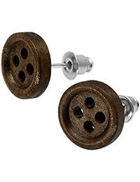 1 par Botón Soul-Cats® Pendientes de madera de la joyería botón de madera