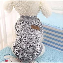 Interesting® Chaqueta de perro linda ropa para perros Ropa de invierno Cachorro de suéter de gato Ropa ropa abrigo (gris M)