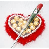 Heart Shaped Fur Tray filled with Ferrero Rocher Chocolates & a Red (Gourmet Mothers Day Gift)