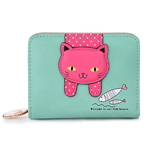 Vbiger Damen Portemonnaie Damen Geldbörse Süß Katze Portemonnaie (Hellgrün+)