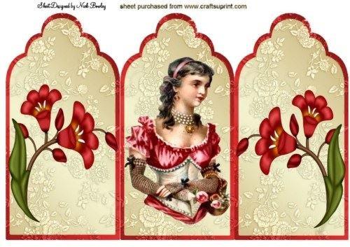Pretty vintage Lady con vestito rosso e fiori Tri fold by Nick Bowley