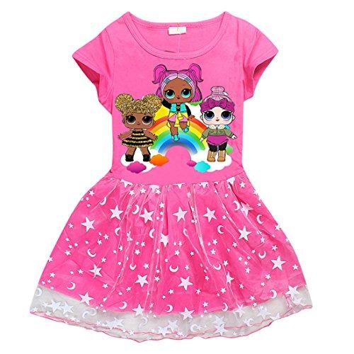 DGFSTM Cute Cartoon Printed Comfy Loose Fit Stitching Skirt Girls Dress