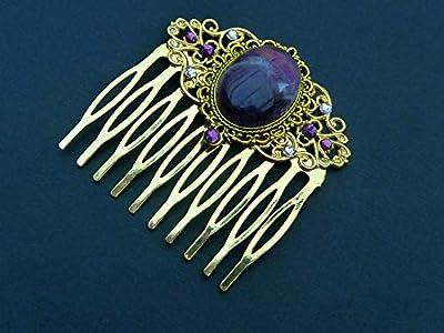Pince à cheveux en pierres précieuses avec cabochon d'améthyste en or violet