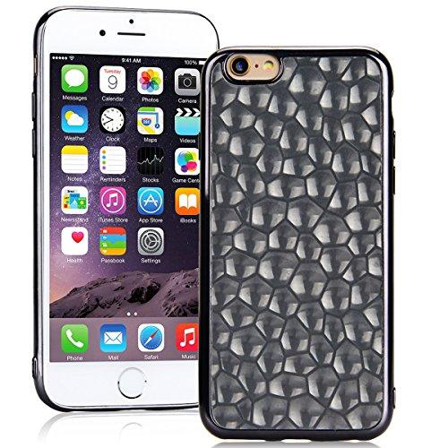 SMARTLEGEND Silicone Morbido Cover Per iPhone 6, Anti-Graffio TPU Case Cover, Placcatura Design Ultra Glitter Protettiva Guscio Protettivo, Anti-Shock Soft Cover, Durevole Soft Case - Rose Gold Nero