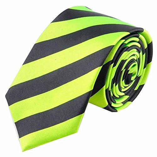 Streifen Krawatte Herren Modern Hochzeit Slim Tie Fest Business Schlips schmal (Grün Schwarz) (Schwarzer Krawatte Krawatte Streifen)