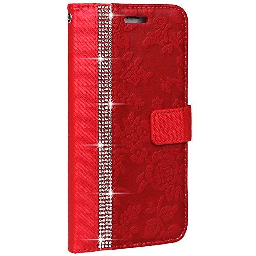 xhorizon Luxus Bling Strass Diamanten Handy Schutzhülle mit Blumentextur aus PU-Leder, Umklappbare Brieftasche-Schutzhülle mit Kartensteckplätzen für iPhone 7 Plus / iPhone 8 Plus (Stift in Feder Stil Rot