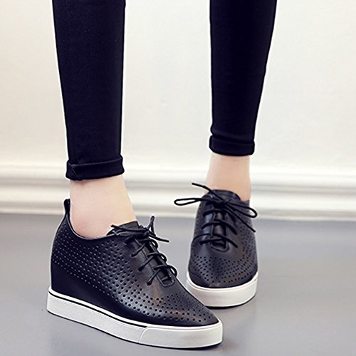 JRenok Basket Creusant en Cuir Chaussure Femme au Printemps Occasionnelle Talon Compensée Confortable Lacets Chaussure Noir