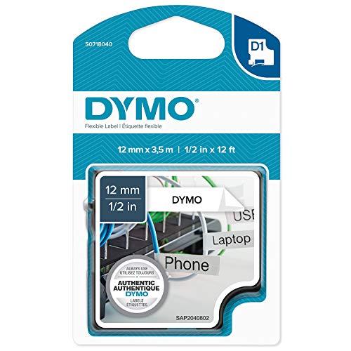 Dymo S0718040 D1 Etiketten (12 mm x 3.5 mm Rolle, Selbstklebend, für den Drucker LabelManager) schwarze Schrift auf weiß