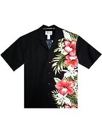 KY´s| Chemise Hawaïenne D'Origine | Pour Hommes | S - 8XL | Manche Courte | Poche Avant | Hawaiian-Imprimer | Fleurs | Noir