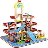 Smibie Wooden Park Garage Toy Three-Level Kids Traffic Car Park Truck Toy