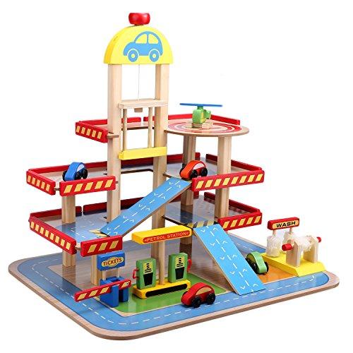 Smibie Aparcamiento de Juguete Garage Infantil con 3 Plantas de Madera Juguete de Construcción con Helipuerto, Estación de Servicio, Lavado de Coches y Estación de Peaje de Autopista para Niños