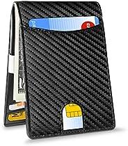 SEAKCOIK Money Clip Genuine Leather Minimalist Credit Card Holder Men's Card Cases Men's RFID Blocking