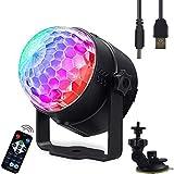 LED PAR Licht Disco PA Lichteffekte 3 RGB Stroboskop DJ Musikgesteuert USB Scheinwerfer La-Cakus Bühnenbeleuchtung Discokugel Partylicht Ball Light für Partei, Bar, Weihnachten mit Fernbedienung