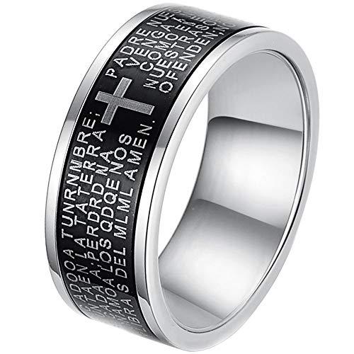 Edelstahl Schmuck Mens Black Ring Prayer Lord Gravierte mit Kreuz Beten 8mm Art und Weise Wedding Band