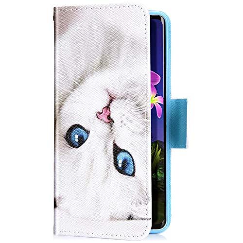 Uposao Kompatibel mit iPhone 11 Handyhülle Leder Tasche Lederhülle Retro Bunt 3D Muster Schutzhülle Bookstyle Flip Case Wallet Cover Ständer Kartenfach Klapphülle,Katze