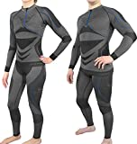 Polar Husky® Atmungsaktive Thermounterwäsche/Funtionsunterwäsche für Damen und Herren Farbe Schwarz/Dunkelblau Größe S/M