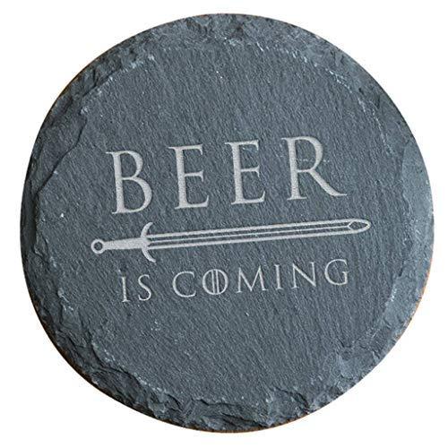 Beer Is Coming rústico pizarra bebidas posavasos-juego de tronos regalo para hombres