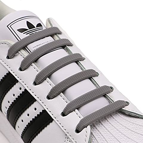 INMAKER No Tie Laces for Kids and Adults, Silicone Flat Shoe Laces for Trainer, Elastic Waterproof Tieless Running Shoe Laces (M/Grey)