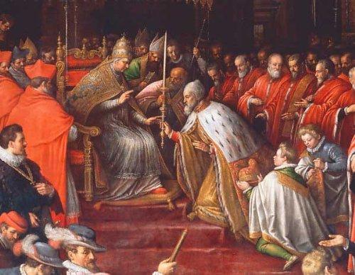 Kunstdruck/Poster: Leandro da Ponte Bassano Papst Alexander III überreicht dem Dogen Sebastiano Ziani die Osterkerze als Zeichen dogenaler Macht - hochwertiger Druck, Bild, Kunstposter, 95x75 cm