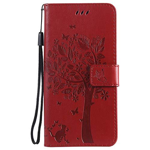 Homikon PU Leder Hülle Retro Schön Katze und Baum Schutzhülle Brieftasche Ledertasche Weiche Bookstyle Case Handyhülle Kartenfächer Flip Etui Kompatibel mit Samsung Galaxy A10/M10 - Red A10-kamera