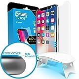 iPhone X Protector de Pantalla Escudo de Cristal Templado, [Tecnología de Dispersión Liquida] Domo de Cristal 3D con Curva de Cobertura Completa, Kit de Fácil Instalación y Luz UV por Whitestone